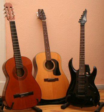 Foto von verschiedenen Gitarrentypen